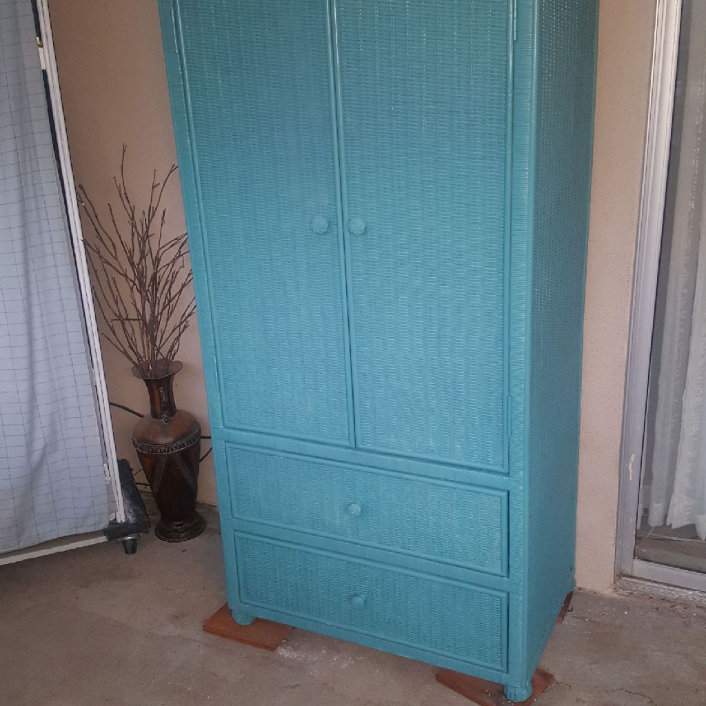 TEAL WICKER ARMOIRE