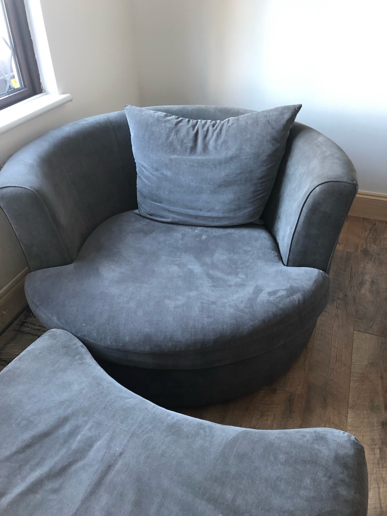 Grey Snuggle Chair with Pouffe