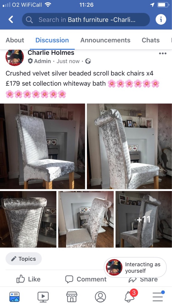 Newly upholstered silver crushed velvet chairs x4