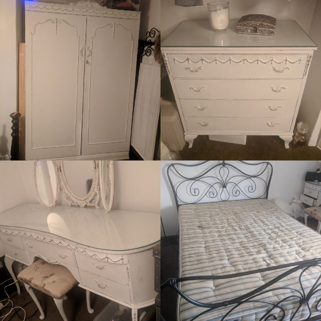 Shabby chic dressing table, draws, wardrobe and double bed.