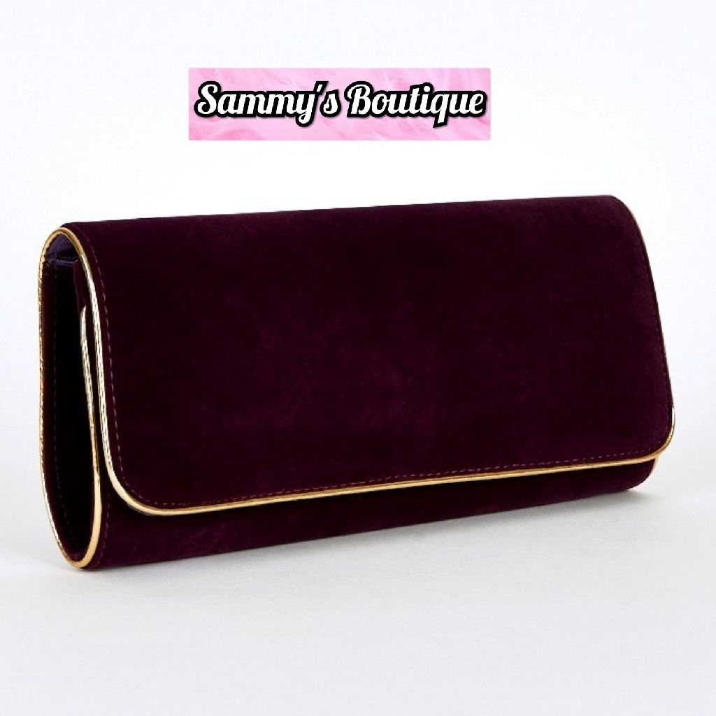 Gold Trim Plum Coloured Medium Clutch Bag