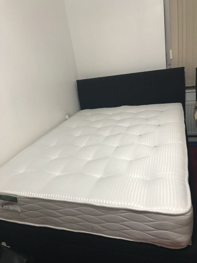 Storage double bed Chanel fabric with mattress