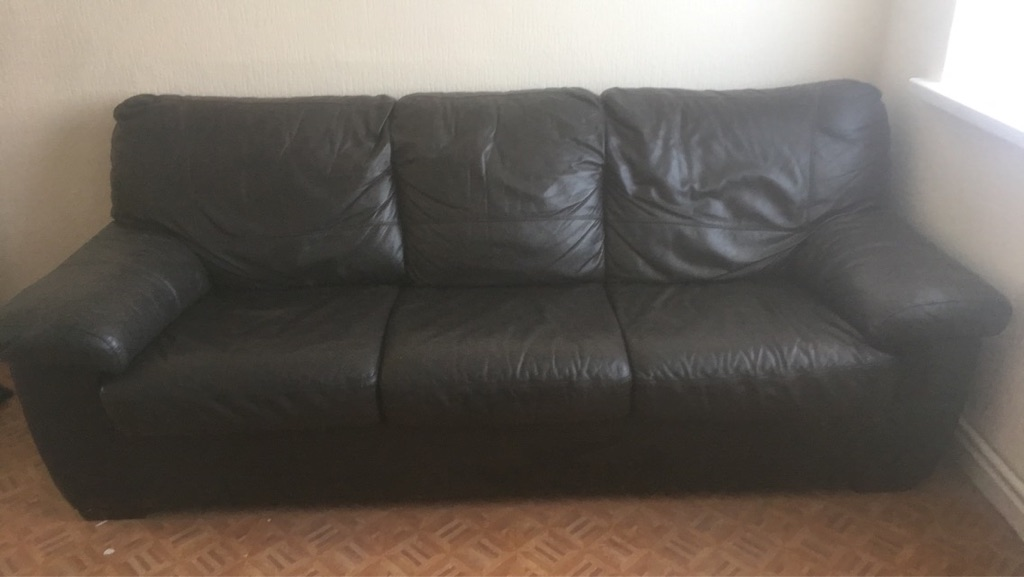 Leather sofa and armchair suite