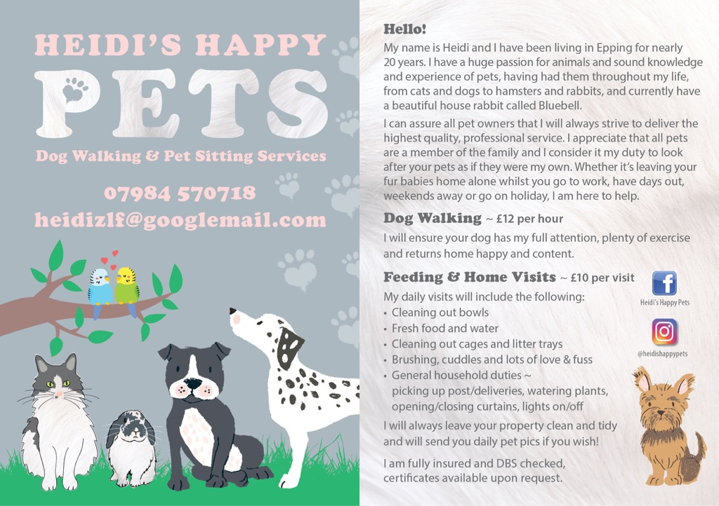 Heidi's Happy Pets - Dog Walking & Pet Sitting Services in and around Epping, Essex