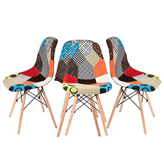 4 x Retro Patchwork Chair Fabric Dining Chairs