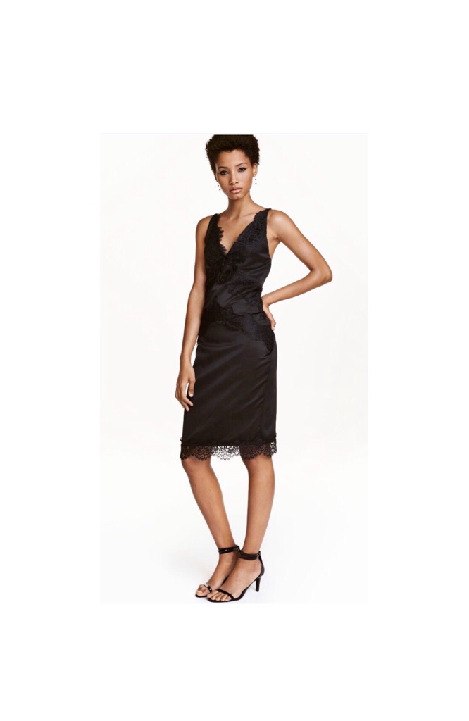 H&M Black Satin women's Dress with Lace details