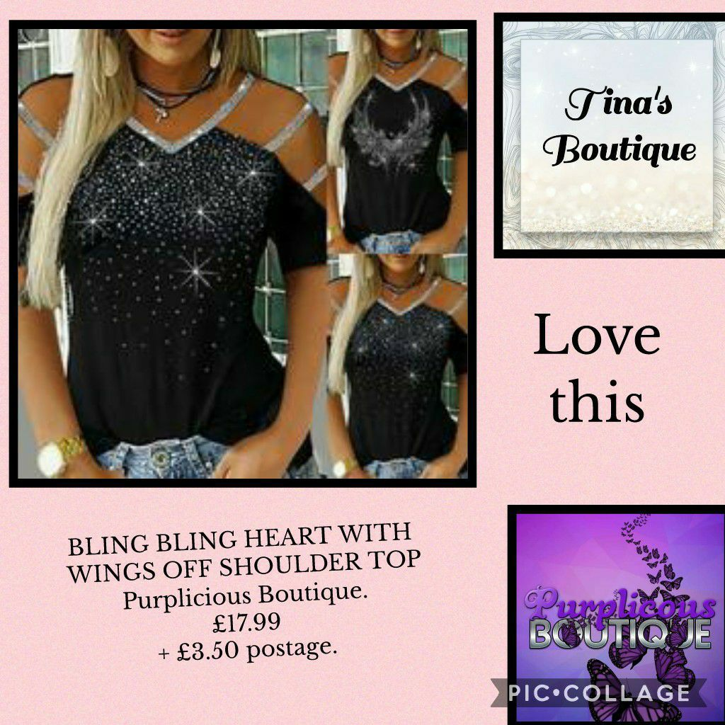 BLING BLING HEART WITH WINGS OFF SHOULDER TOP