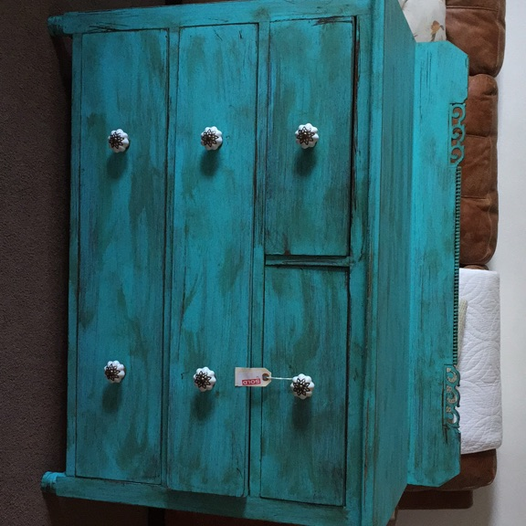 Shabby chic turquoise drawers