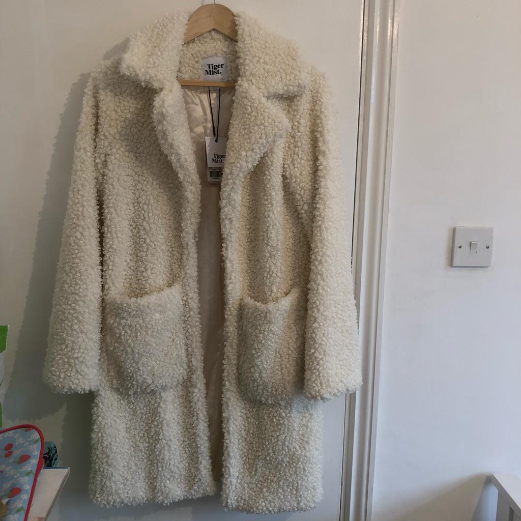 Cream fluffy jacket - UK size Small