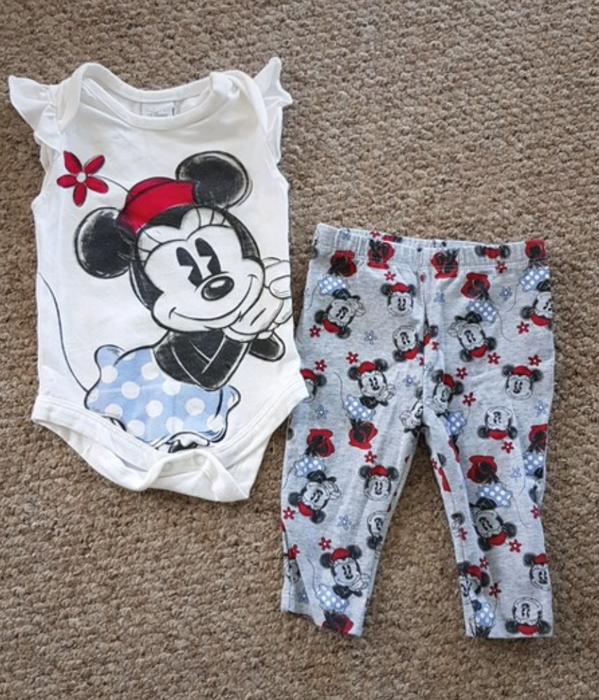 Girls Minnie Mouse bodysuit and Leggings Set 3-6 Months