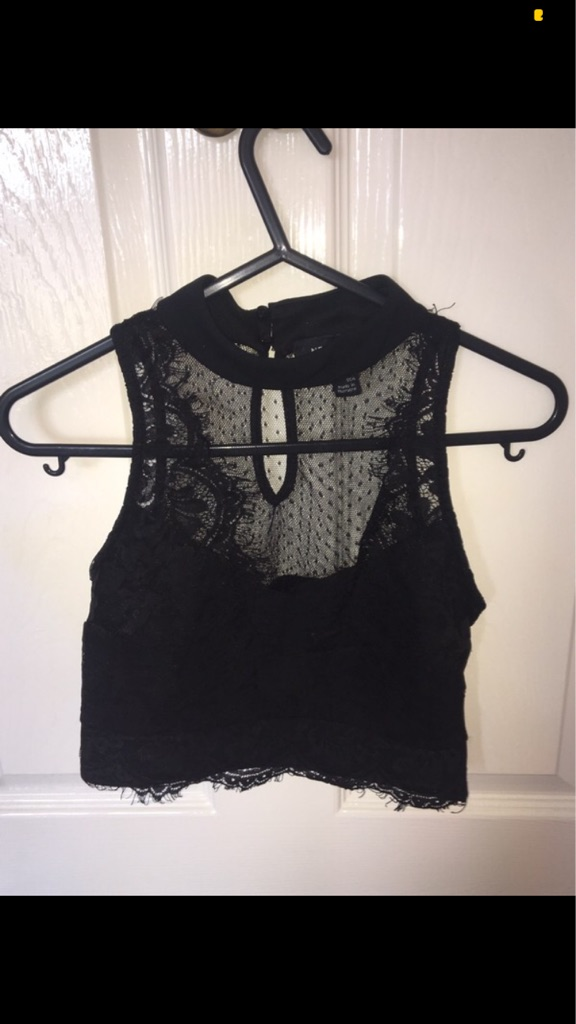 Black lacy and mesh top Size XS/6