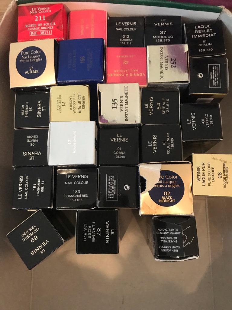 Huge selection of different designer nail varnishes