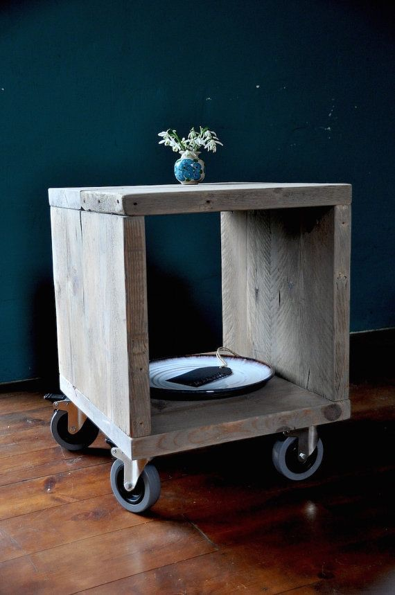 Rustic Cubed Wooden unit on wheels