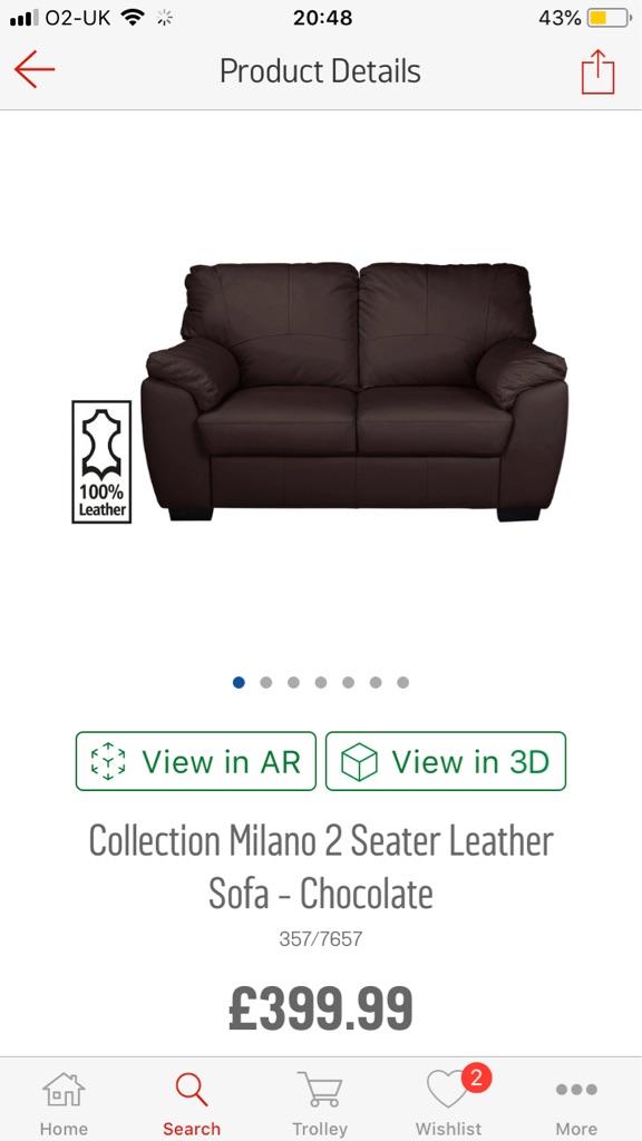 2X 2 seater sofas (Leather)