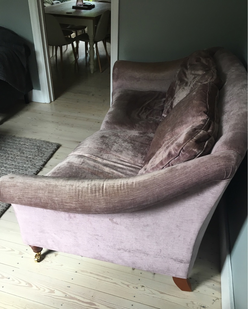 Laura Ashley 3 seater sofa- pink velvet