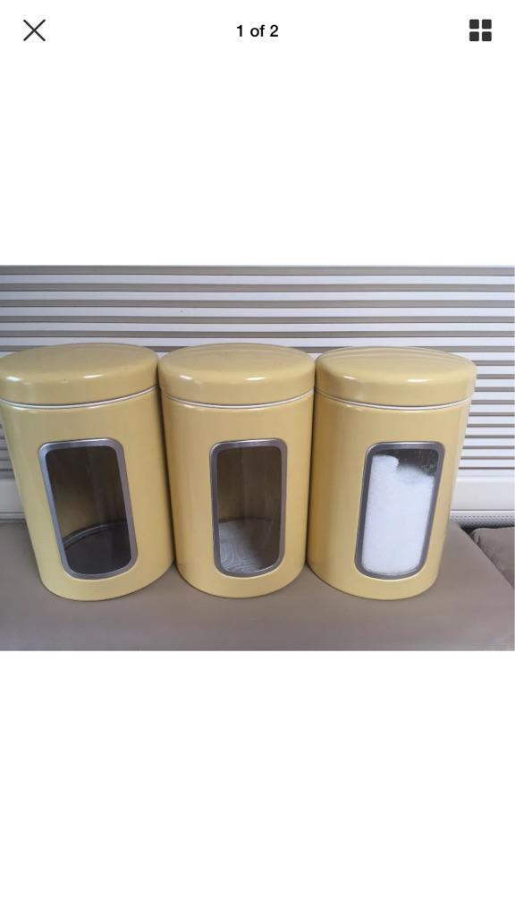 Brabantia Tea, Coffee and Sugar Canister Set, 3 Piece, 1.4L, Mustard