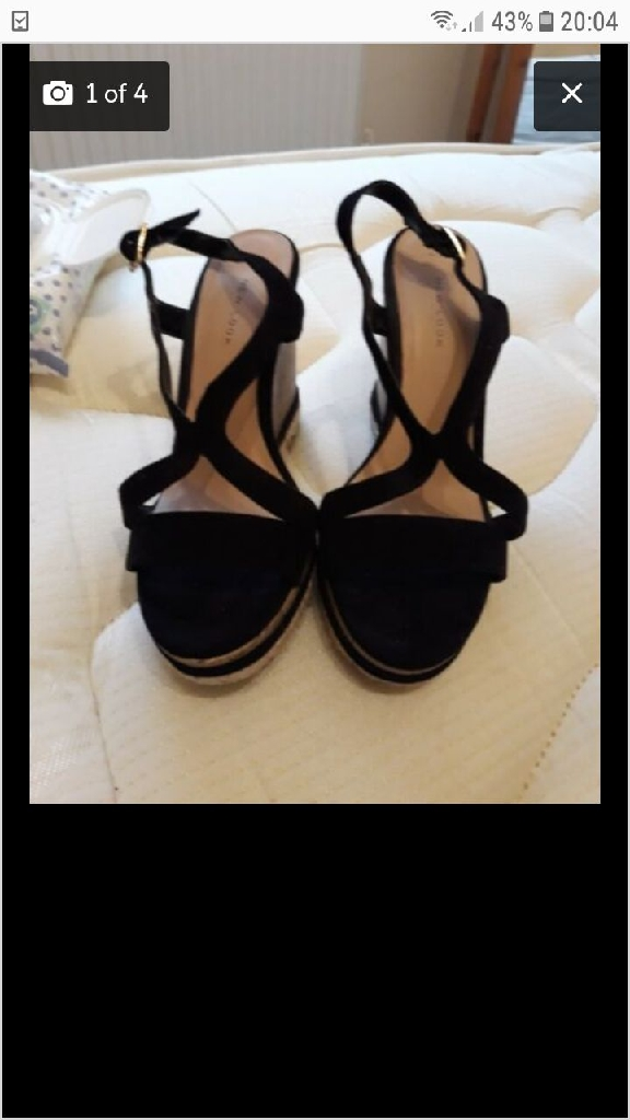 Black wedge sandles. Size 4