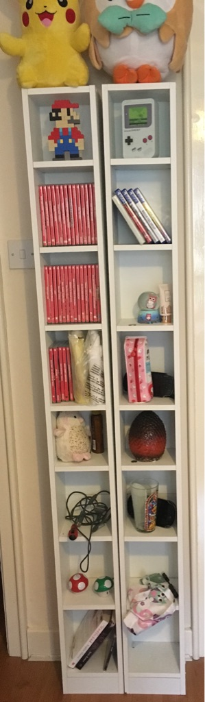 2 Tall White DVD Tower Shelving Units