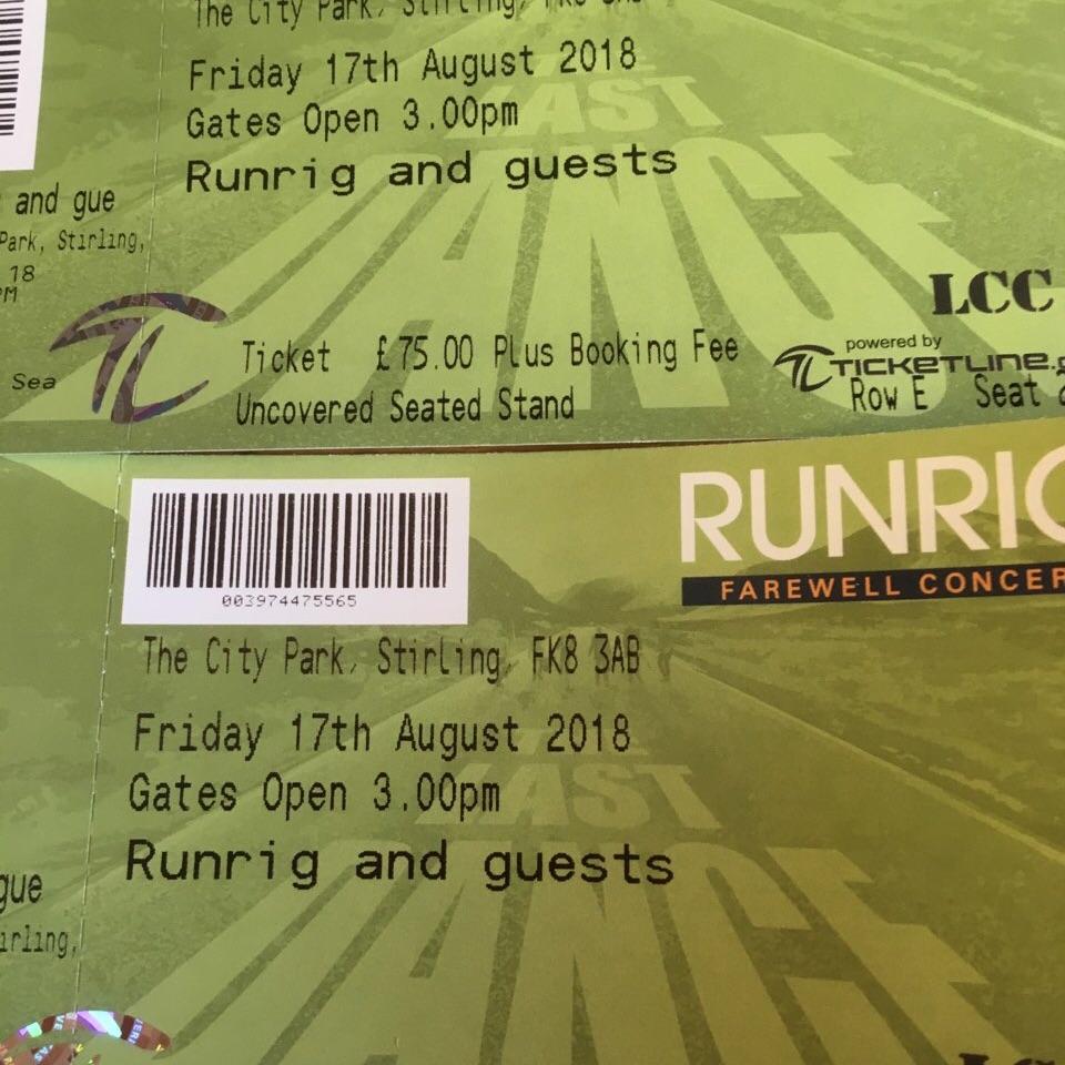 Runrig tickets x 2 Friday 17th August.