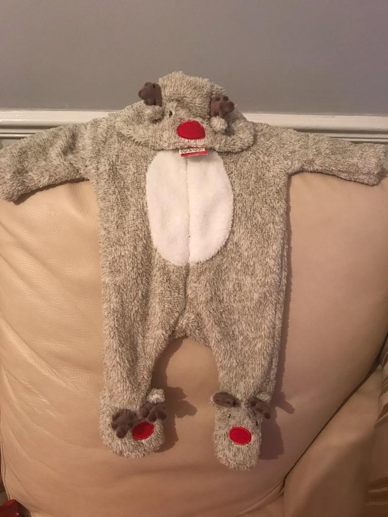 Unisex Reindeer Onsie. Up to 3 months.