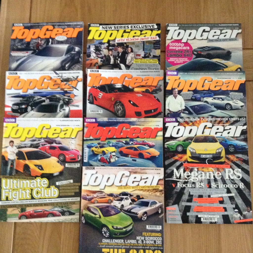 10 x 2008/9 Top Gear magazines - great condition