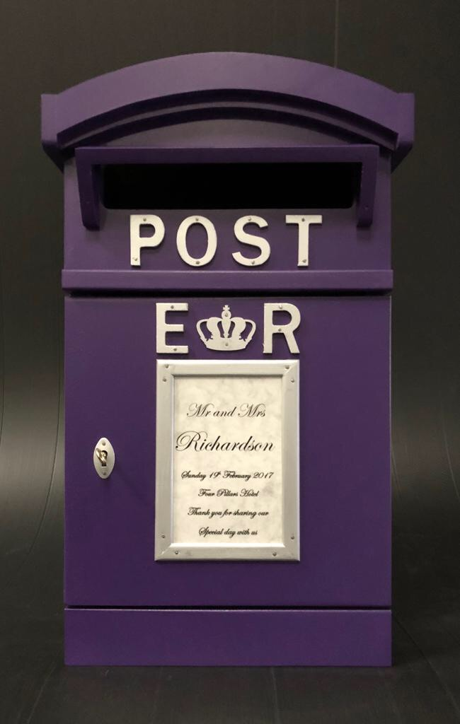 Purple and silver Post Box for hire