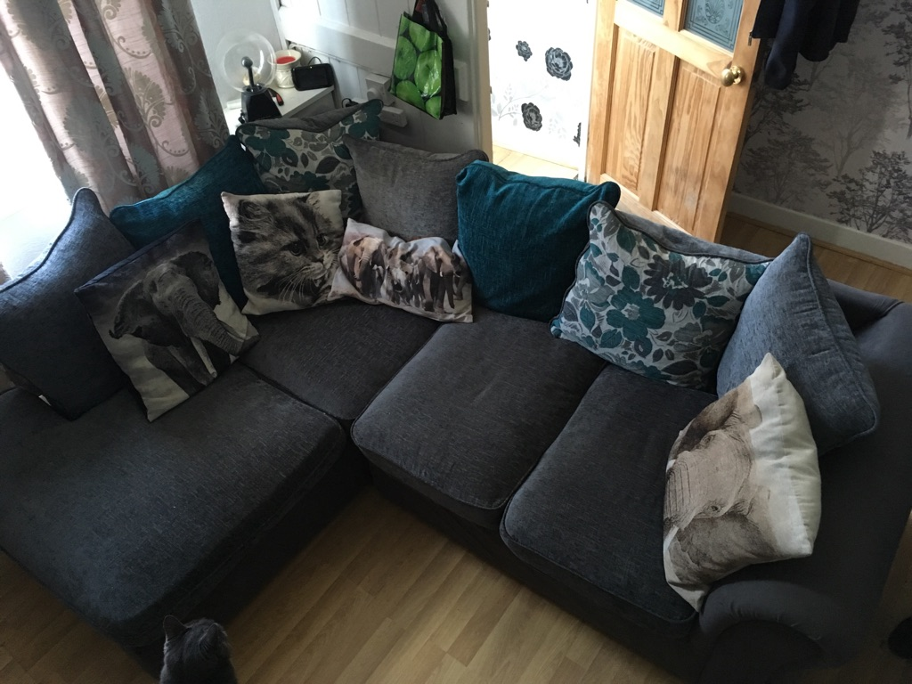 L shaped Right handed Sofa with matching Grey arm chair