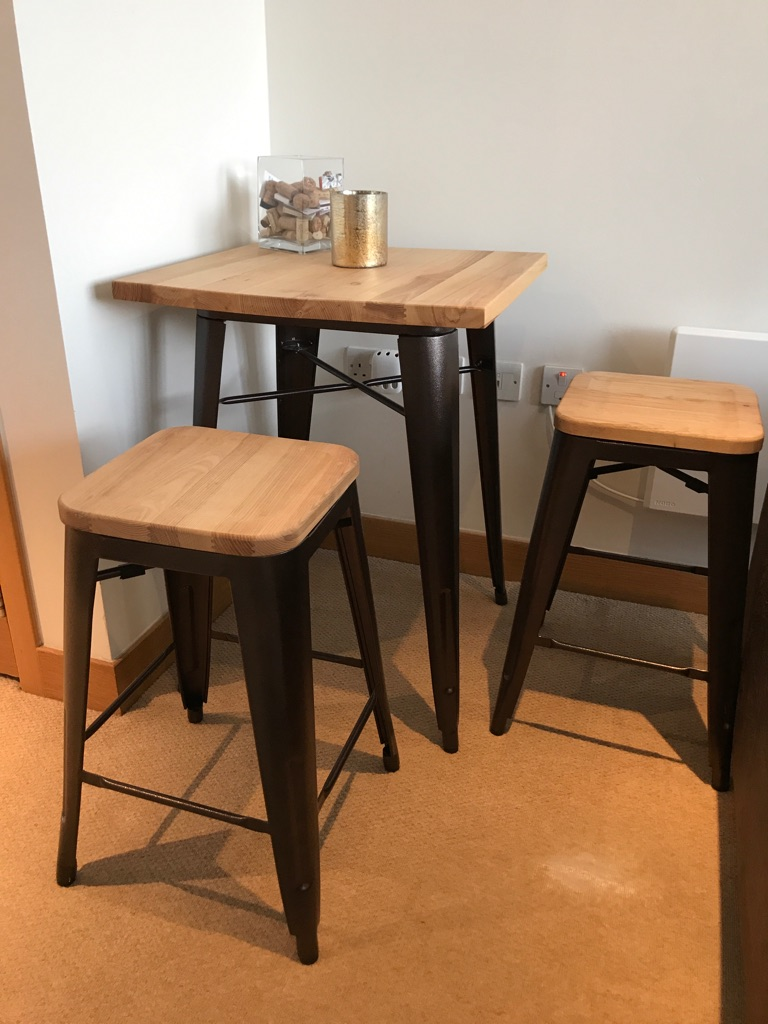 Contemporary Table and Two Stools