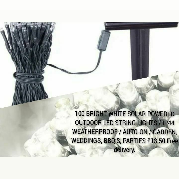 100 BRIGHT WHITE SOLAR POWERED OUTDOOR LED STRING LIGHTS / IP44 WEATHERPROOF / AUTO-ON / GARDEN, WEDDINGS, BBQ'S, PARTIES