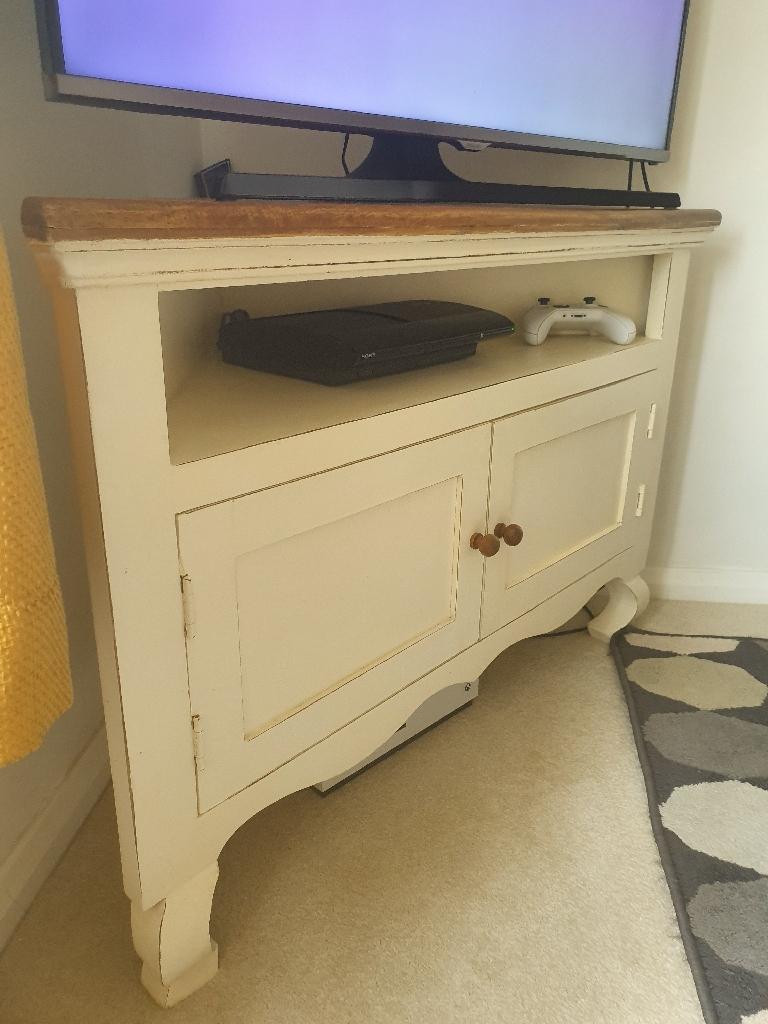 Rustic shabby chic corner tv unit