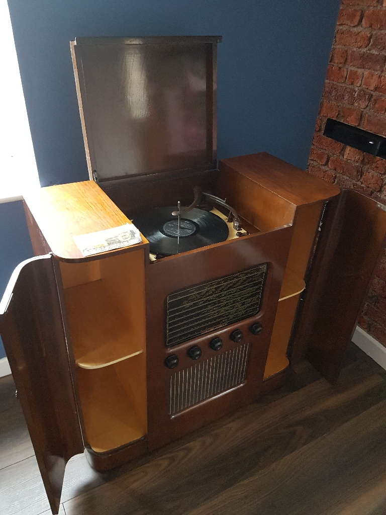 Vintage antique record player and radio player