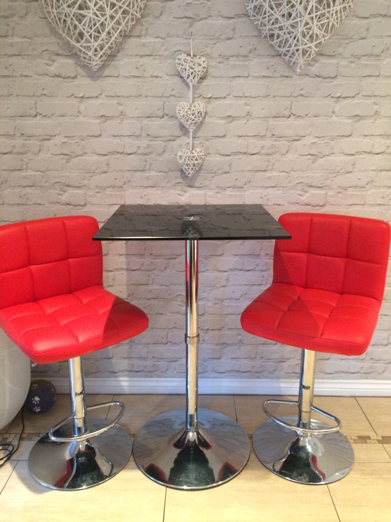 Bar stools and glass table