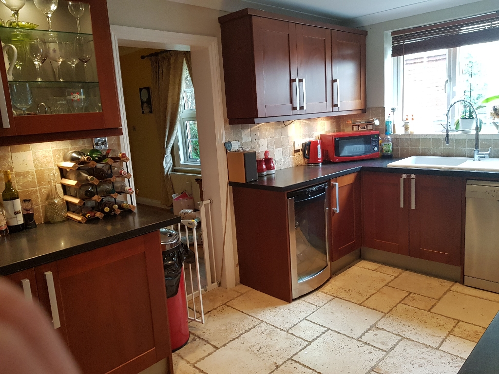 Solid cherry wood kitchen units and Getacore worktops