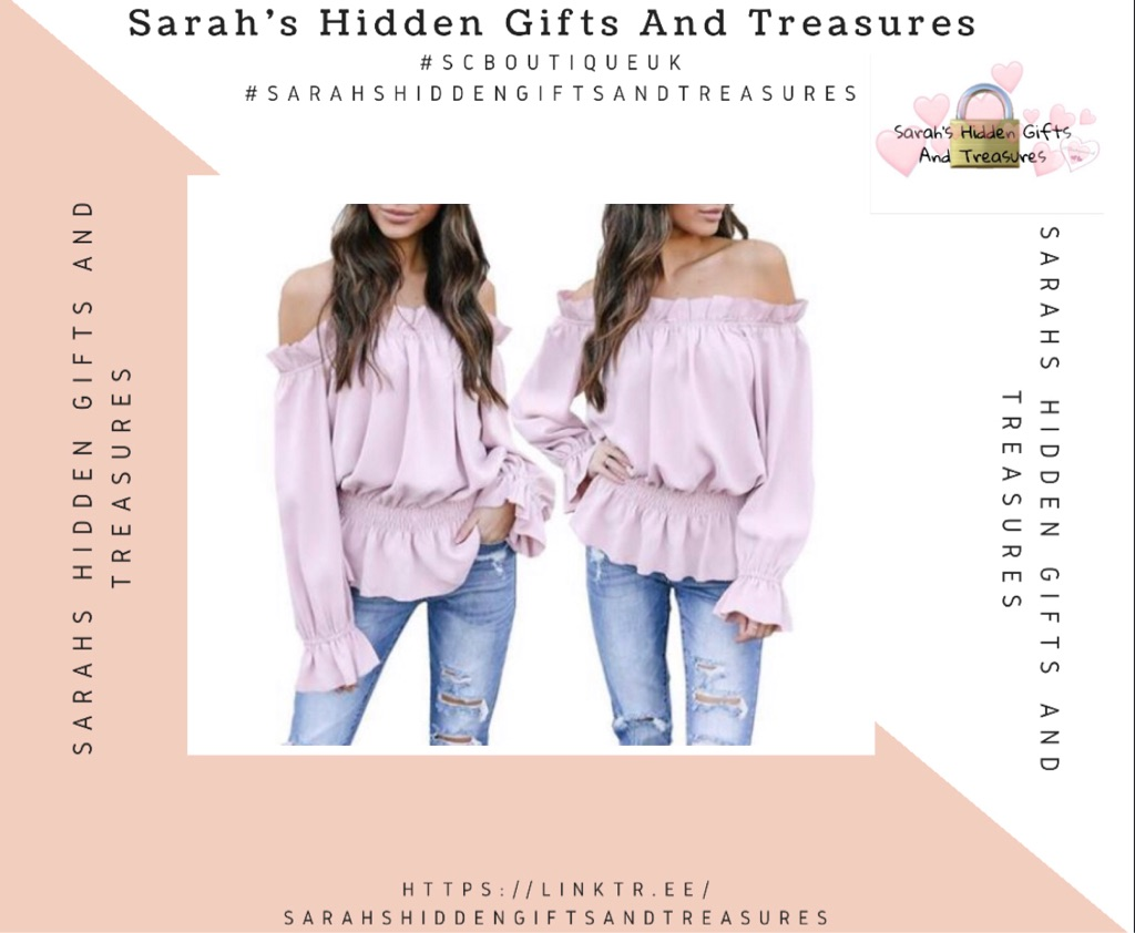 Light Purple Straight Frill Off Shoulder Long Sleeve Casual Blouse Top