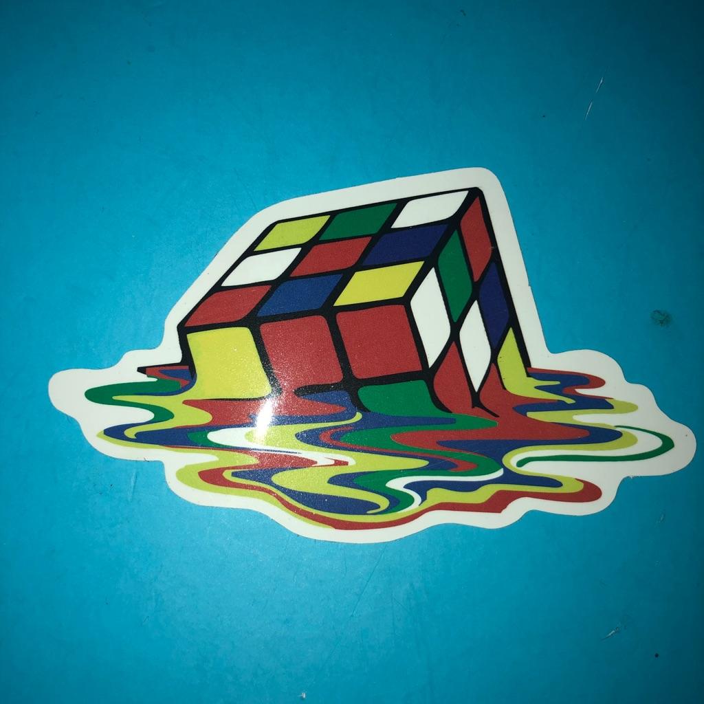 Rubik cube melting Vinyl Sticker
