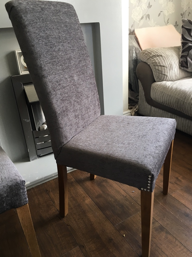 2 chenille steel grey chairs