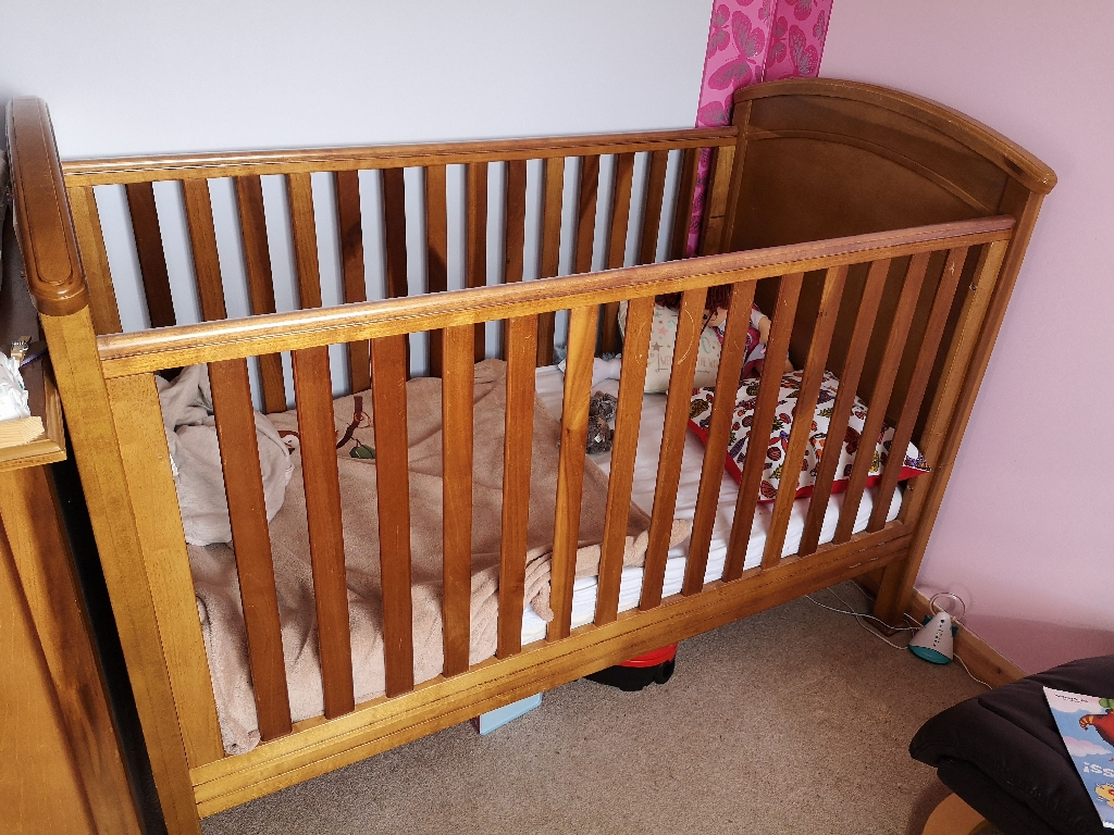 Mama's and Papa's solid wood cotbed and wardrobe