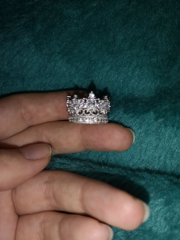 Detailed princess tiara ring 925 sterling silver