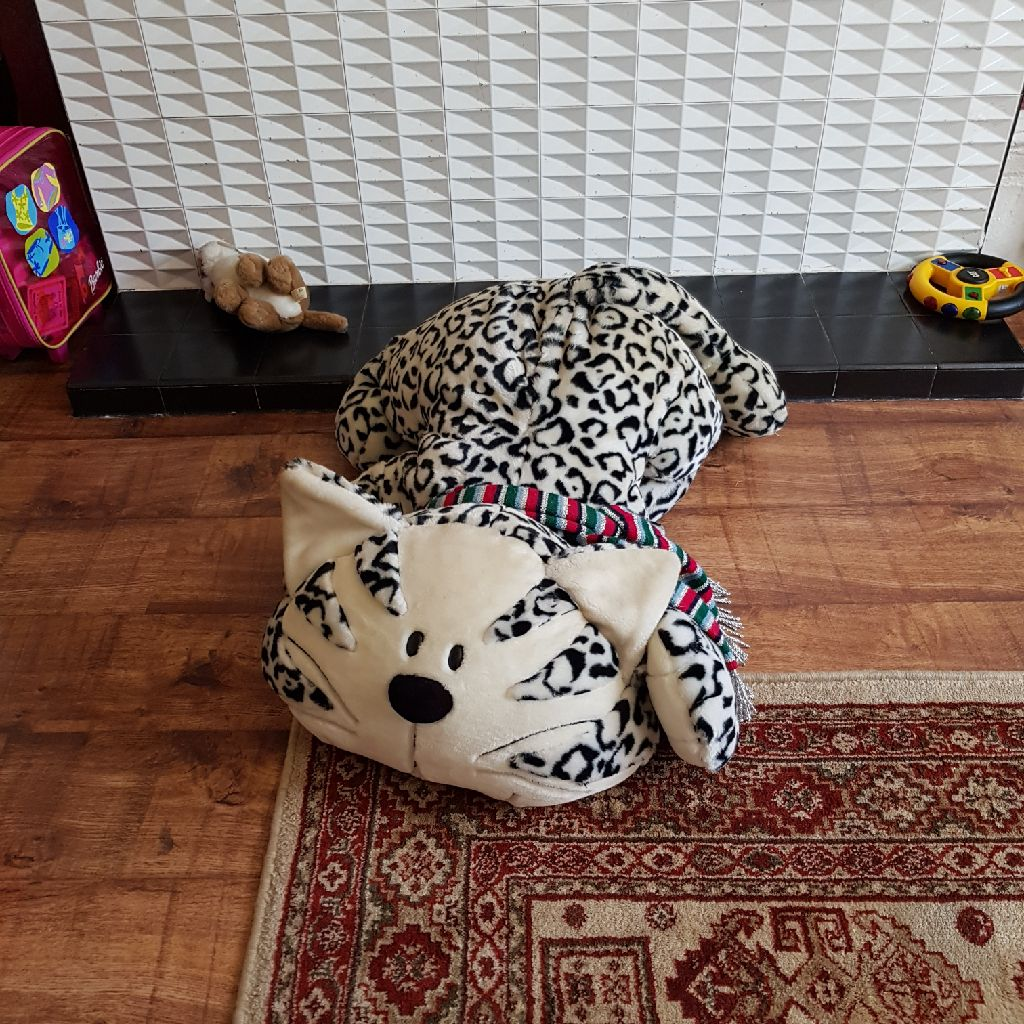 Extra large toy teddy cat leopard print