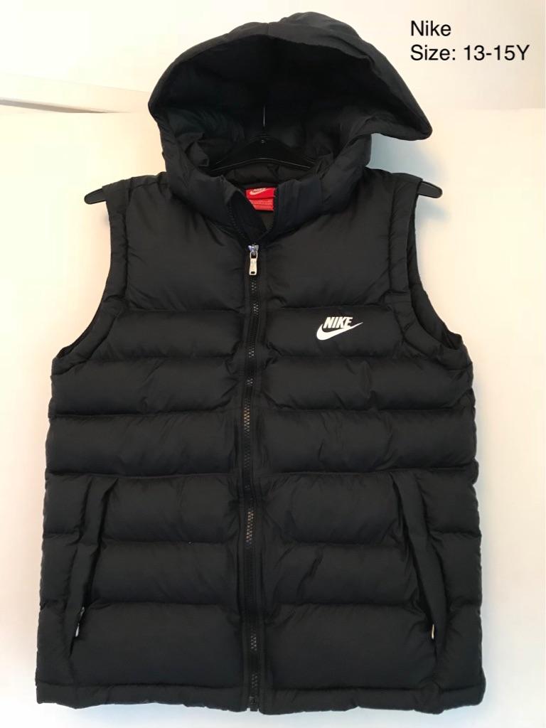 Black Boys/Girls Nike Padded Hooded Sleeveless Gilet, 13-15Yrs, As New