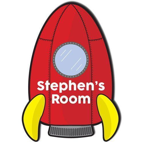 Rocket ship bedroom door plaque