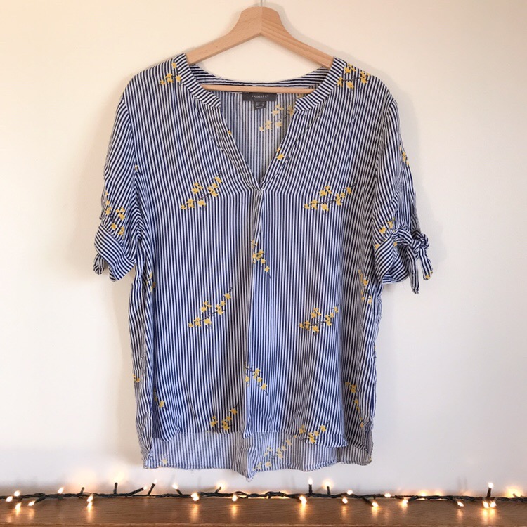 Primark Blue and White Striped Floral Shirt