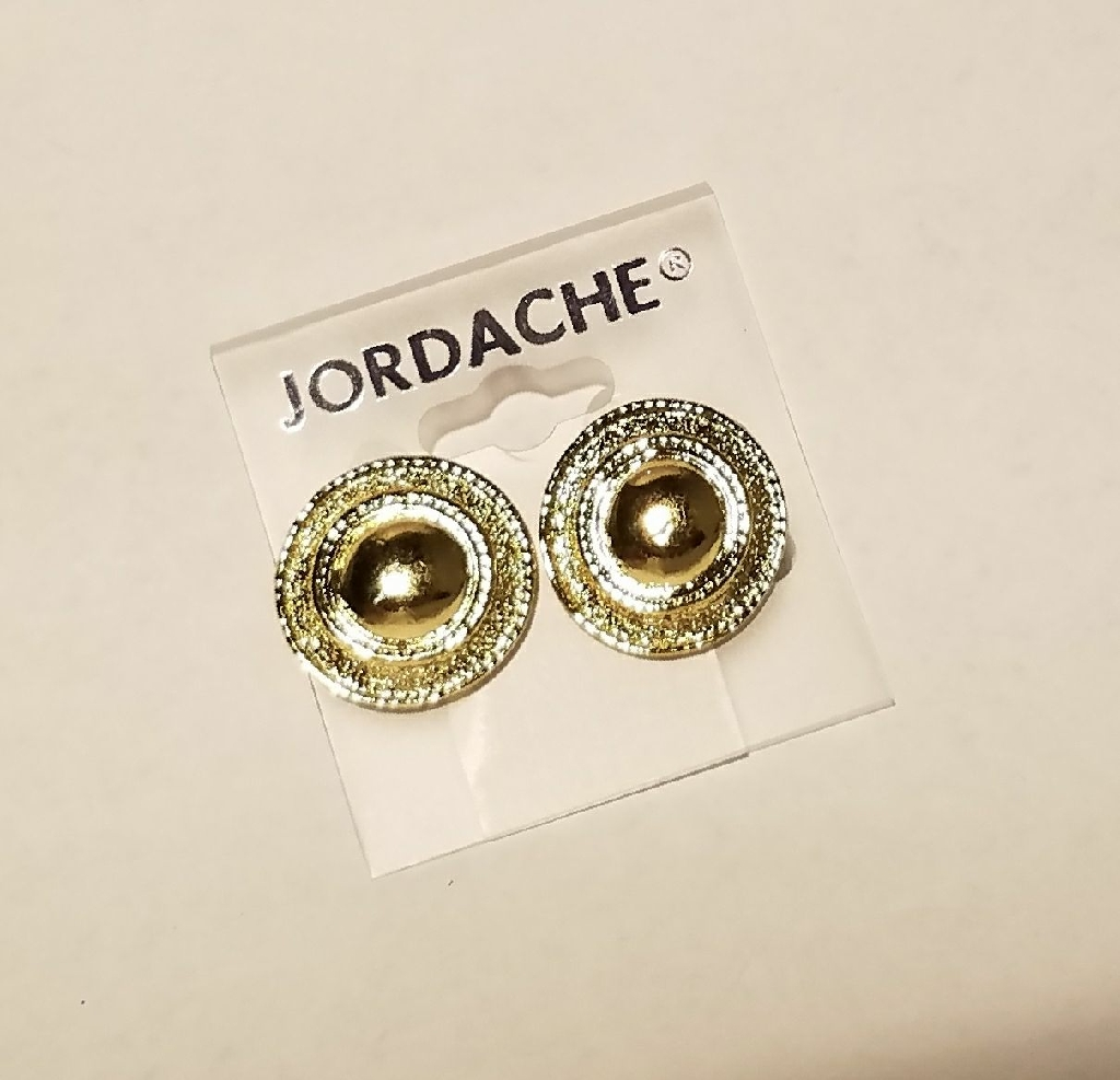 New layered gold button earrings