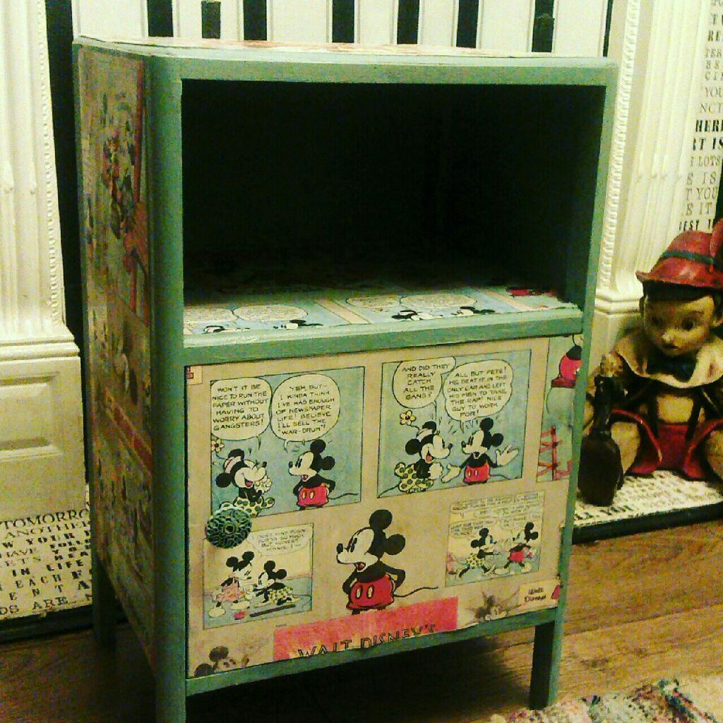 Vintage Mickey mouse side bed table