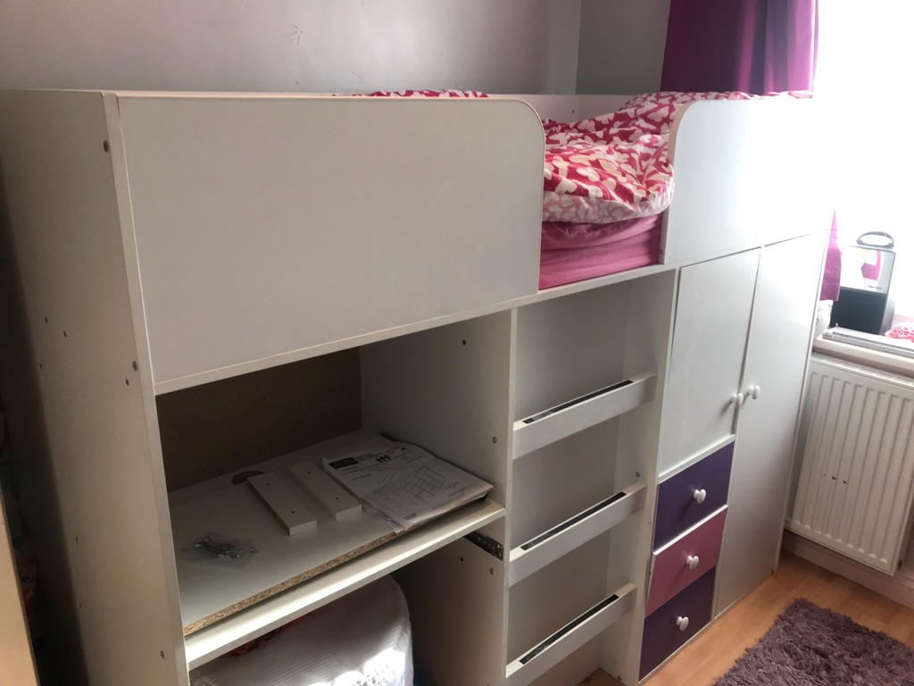 Cabin bed hi sleeper with wardrobe drawers desk