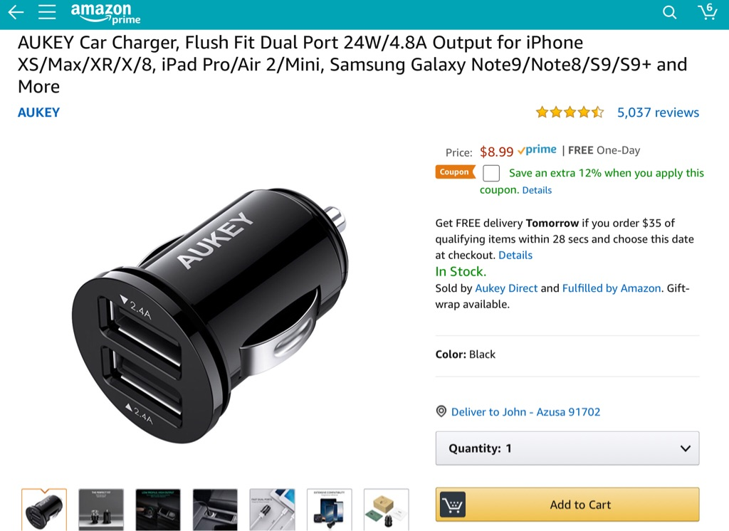 AUKEY Car Charger, Flush Fit Dual Port 24W/4.8A Output for iPhone XS/Max/XR/X/8, iPad Pro/Air 2/Mini, Samsung Galaxy Note9/Note8/S9/S9+ and More (New)