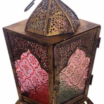 Pierced fretwork gold glass Moroccan style standing lantern