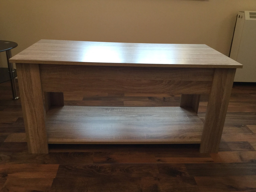 Lift up coffee table with storage and shelf