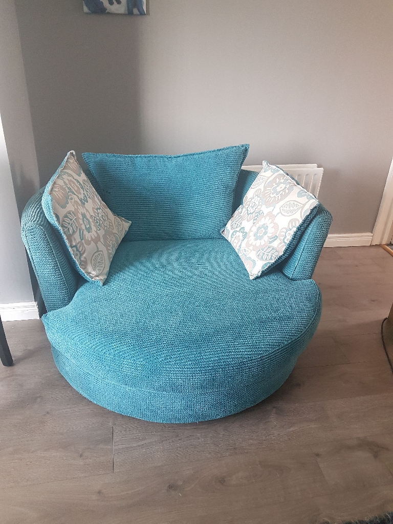 DFS Turquoise settee & Cuddle Chair