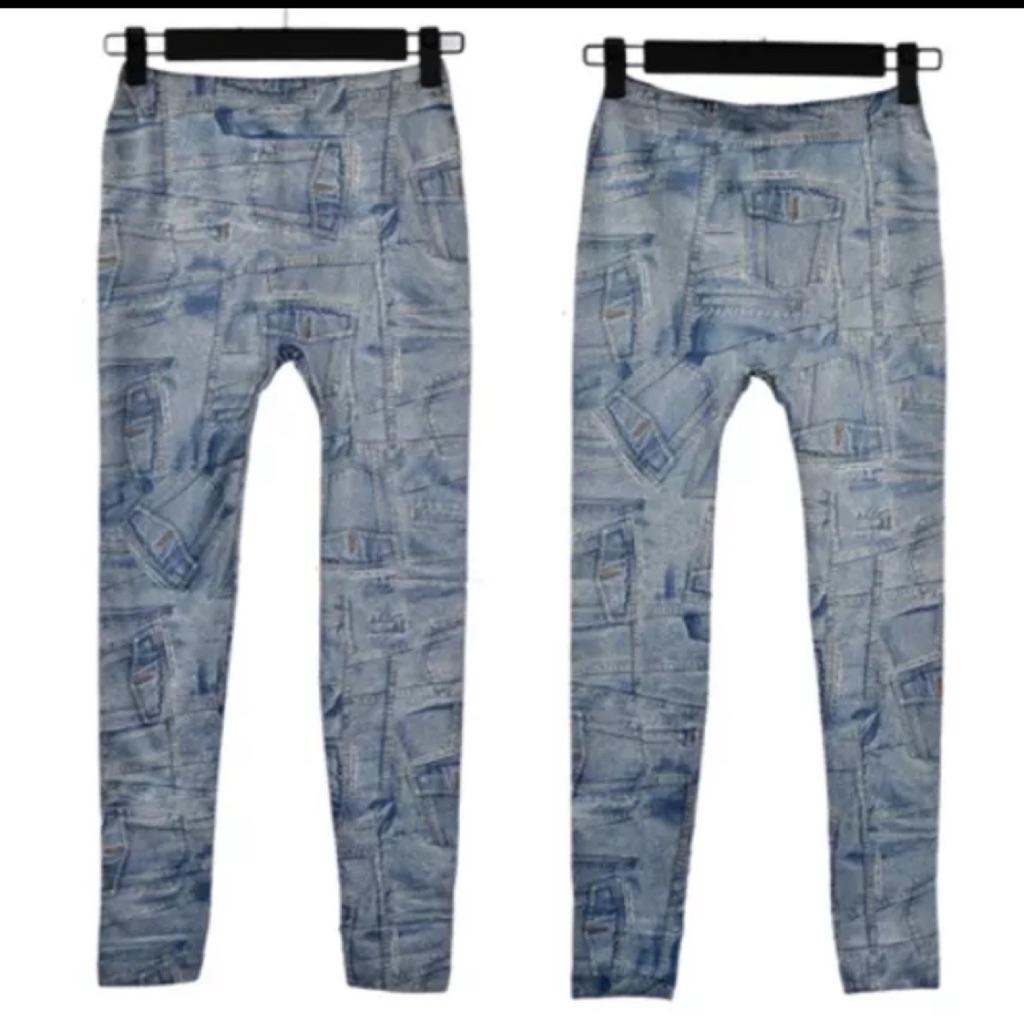 Blue New Women Fashion Leggings Uk 20